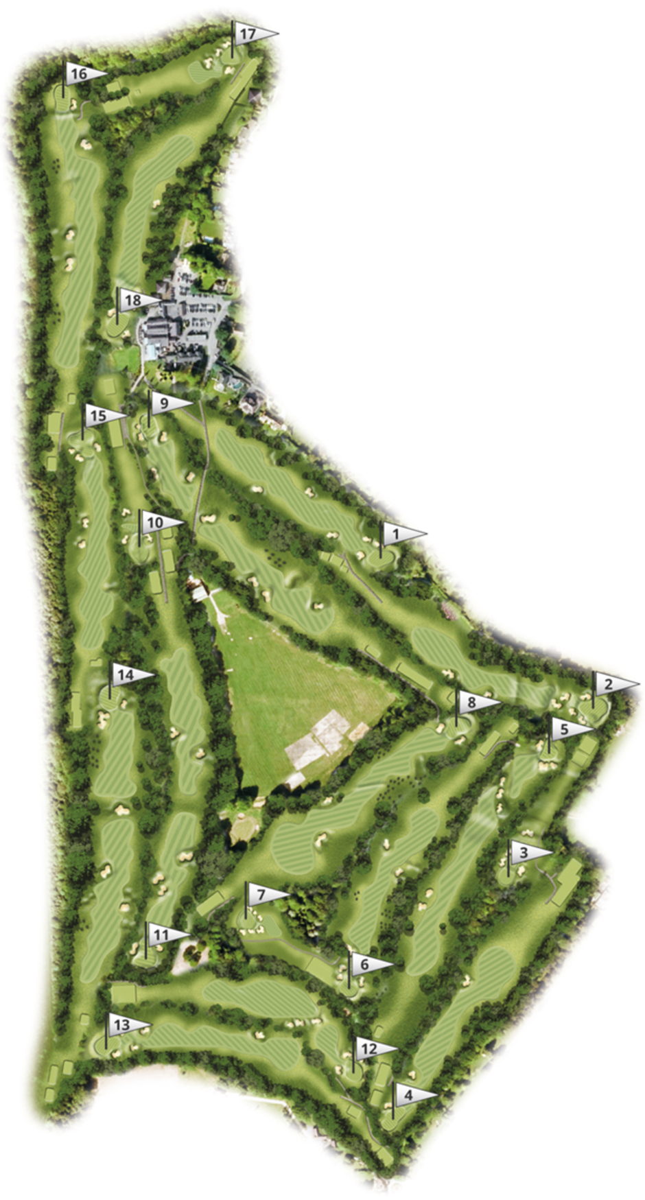 Overview of the course at Kingswood Golf and Country Club, Surrey.